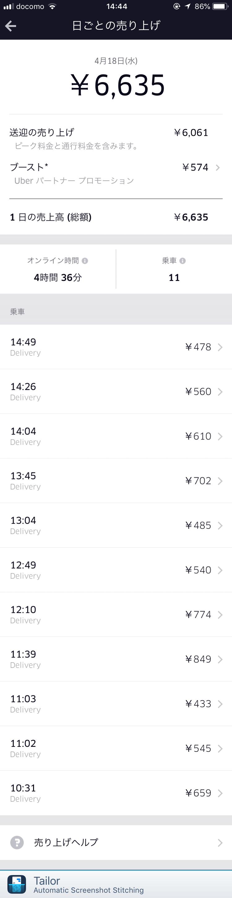 【Uber Eats配達】4月18日の配達結果