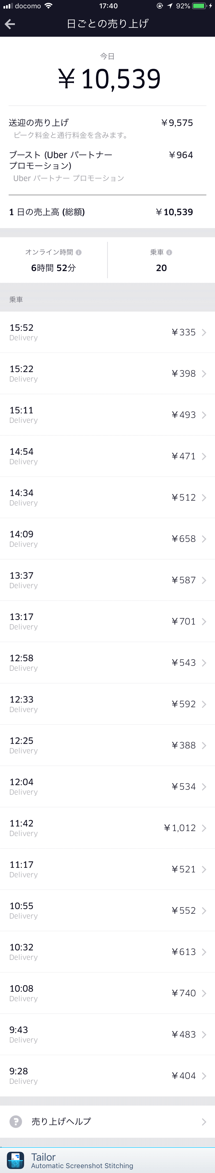 Uber Eats5月13日の配達記録