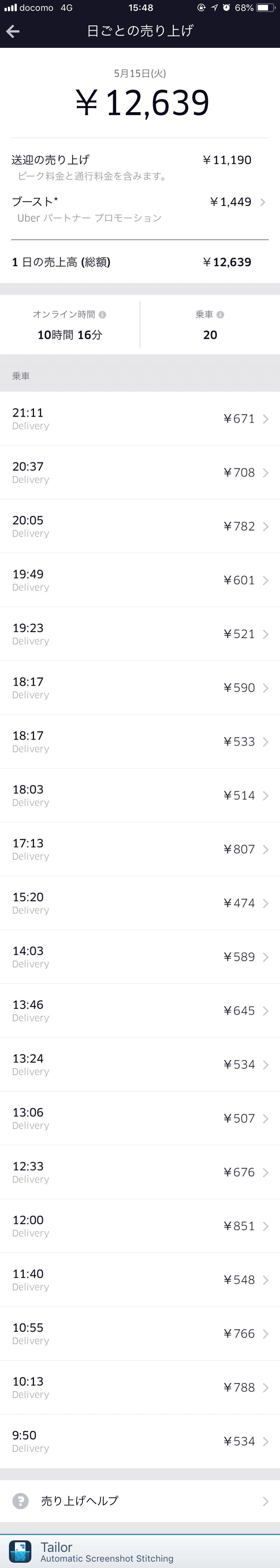 Uber Eats5月15日の配達記録