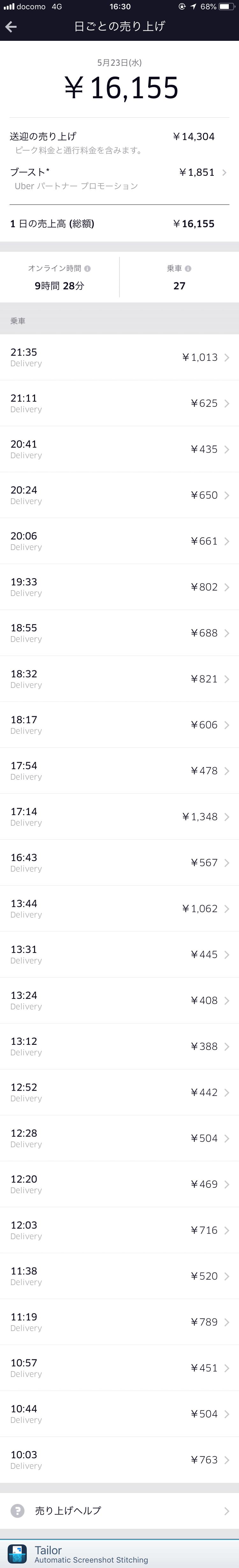 Uber Eats5月23日の配達記録