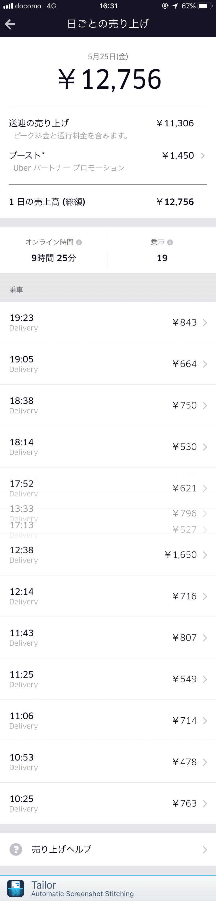 Uber Eats5月25日の配達記録