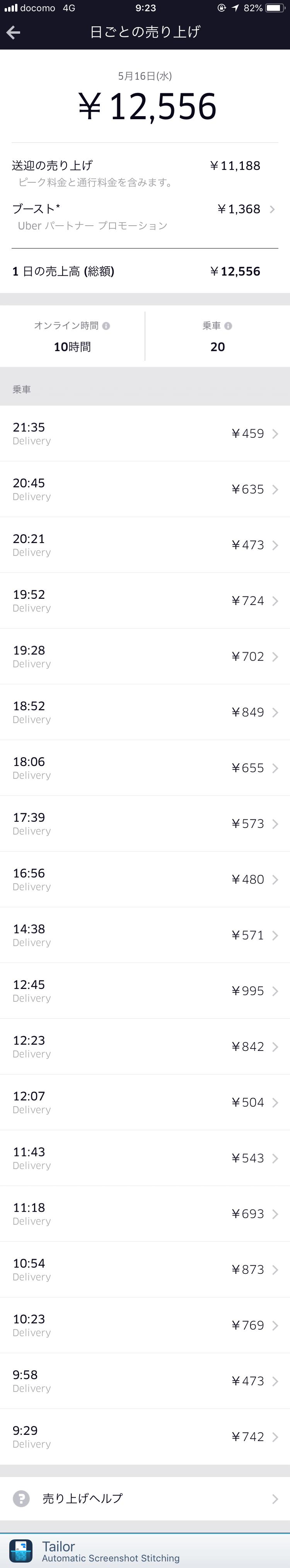 Uber Eats5月16日の配達記録