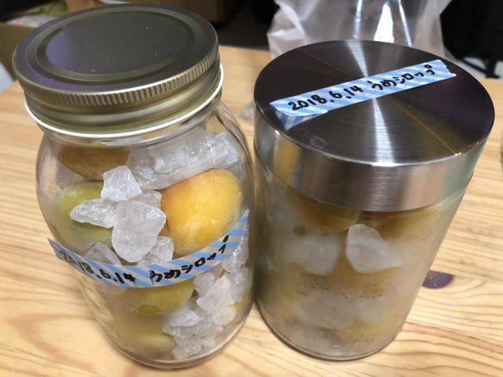 瓶詰めした冷凍梅と氷砂糖