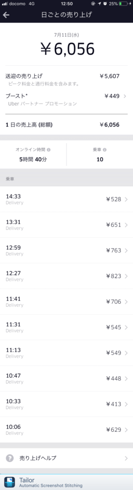 Uber Eats7月11日の配達記録
