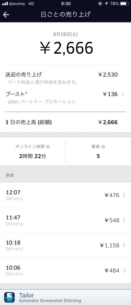 Uber Eats8月18日の配達記録