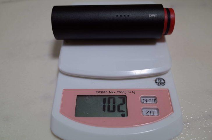 モバイルバッテリー重量102g