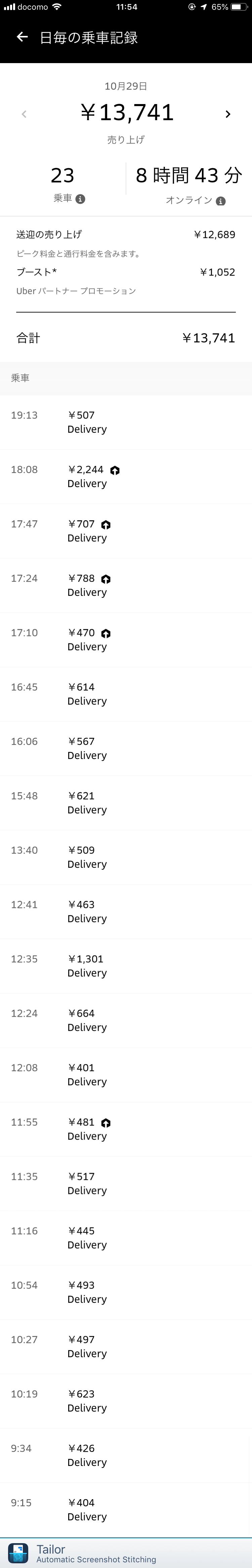 Uber Eats10月29日の配達数字
