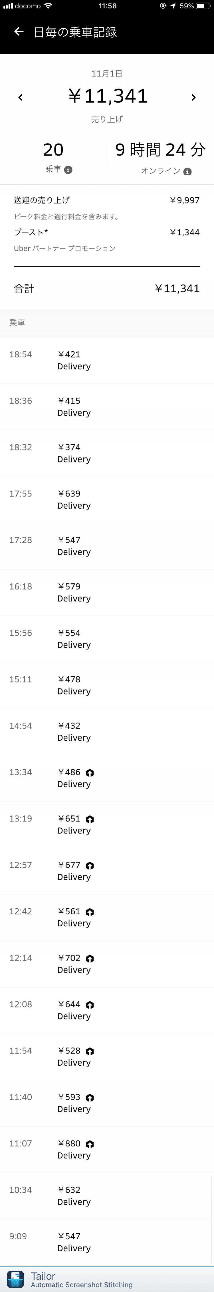 Uber Eats11月1日の配達数字